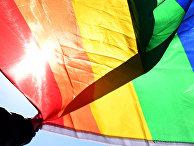 Участник ЛГБТ движения в Москве