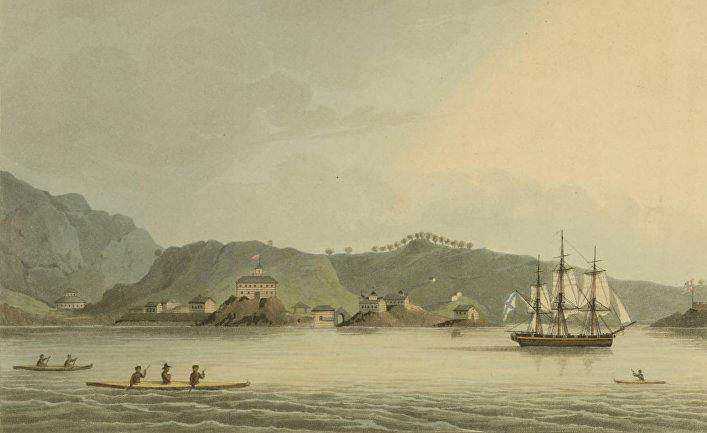 Шлюп «Нева» в гавани святого Павла на острове Кадьяк (Аляска)
