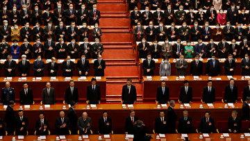 Председатель КНР Си Цзиньпин в Большом зале Народного собрания в Пекине