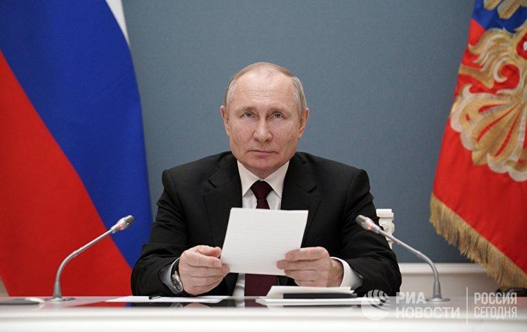 Президент РФ В. Путин принял участие в церемонии запуска Таласского золоторудного комбината