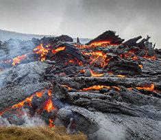 Извержение вулкана Фаградалсфьялль