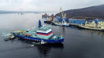 Прибытие атомного ледокола «Арктика» в порт Мурманска