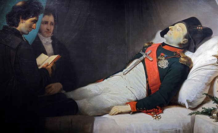 1843. Картина художника Жана-Батиста Мозеса изображает Наполеона на смертном одре