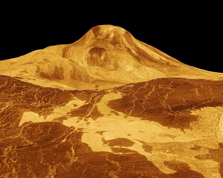 Сгенерированное на компьютере изображение горы Маат, Венера