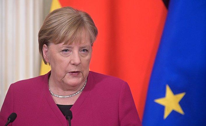 Федеральный канцлер Германии Ангела Меркель во время совместной с президентом РФ Владимиром Путиным пресс-конференции