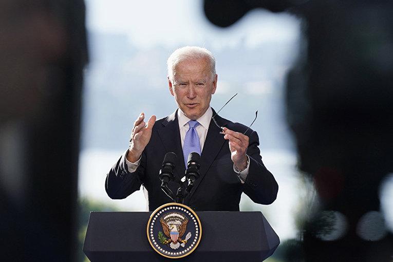 Президент США Джо Байден на пресс-конференции в Женеве