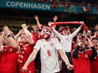 Болельщики сборной Дании после окончания матча 3-го тура группового этапа чемпионата Европы по футболу 2020 между сборными командами России и Дании