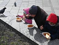 Раздача бесплатной еды на площади Независимости в Киеве
