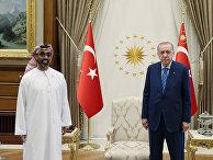 Встреча президента Турции Реджепа Тайипа Эрдогана и советника по нацбезопасности ОАЭ Тахнуна бин Заеда аль-Нахайяна в Анкаре