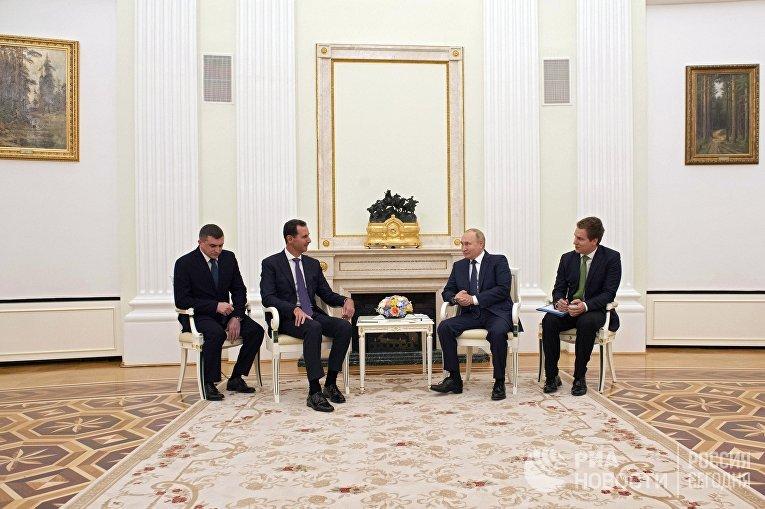 Встреча президента РФ В. Путина с президентом Сирии Б. Асадом